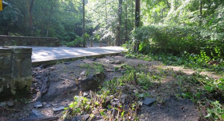 Where Soapstone Creek flowed over Broad Branch Road on June 21, 2016.
