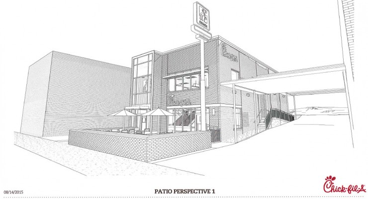 An early rendering of the planned Chick-fil-A in Van Ness.