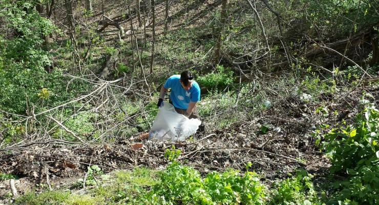 AU's Andrew Huff tackles the trash where the Windom parklet joins Soapstone Valley.